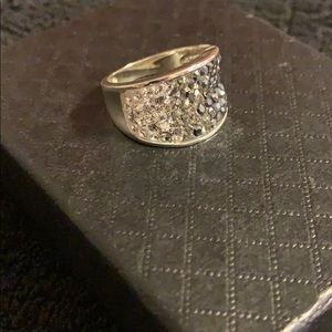 Brass silver plated fashion ring size 8